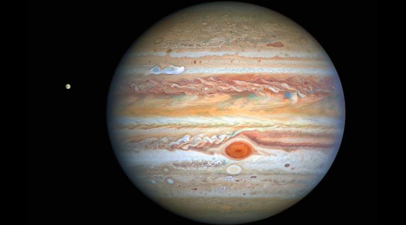 This latest image of Jupiter, taken by the NASA/ESA Hubble Space Telescope on 25 August 2020, was captured when the planet was 653 million kilometres from Earth. Hubble's sharp view is giving researchers an updated weather report on the monster planet's turbulent atmosphere, including a remarkable new storm brewing, and a cousin of the Great Red Spot changing colour - again. The new image also features Jupiter's icy moon Europa. CREDIT: NASA, ESA, A. Simon (Goddard Space Flight Center), and M. H. Wong (University of California, Berkeley) and the OPAL team.