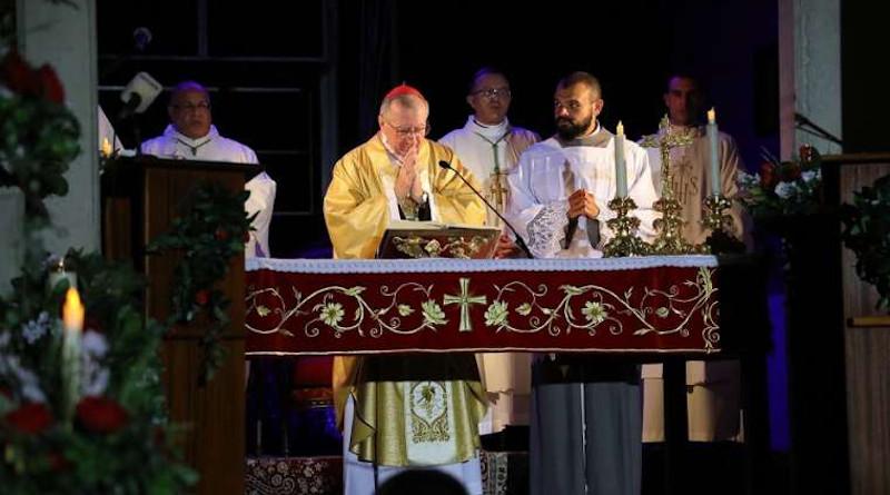 Cardinal Pietro Parolin says Mass at the Shrine of Our Lady of Lebanon in Harissa, Lebanon Sept. 3, 2020. Credit: Fr. Charbel Obeid/CNA.