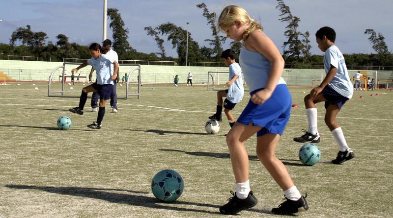 Sports Girls Boys Playing Soccer Chiildren Kids Game