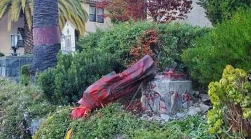 A statue of St. Junipero Serra, which was defaced and torn down by protesters Oct. 12, at Mission San Rafael Arcangel in San Rafael, California. Courtesy photo.