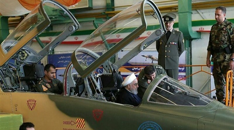 File photo of Iran's President Hassan Rouhani in warplane. Photo Credit: Tasnim News Agency