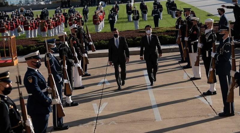 Defense Secretary Dr. Mark T. Esper, left, welcomes South Korean Defense Minister Suh Wook during an enhanced honor cordon and bilateral meeting at the Pentagon, Oct. 14, 2020. Photo Credit: Lisa Ferdinando, DOD