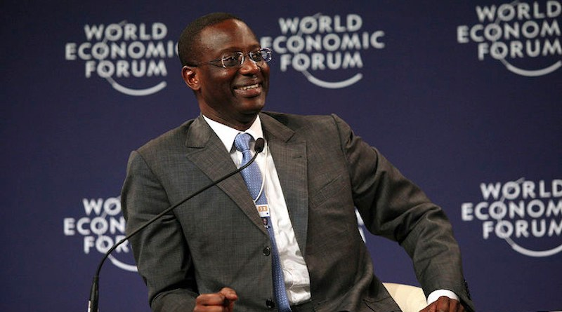 Tidjane Thiam speaking at the World Economic Forum in Dalian, China, 2011. CC BY-SA 2.0