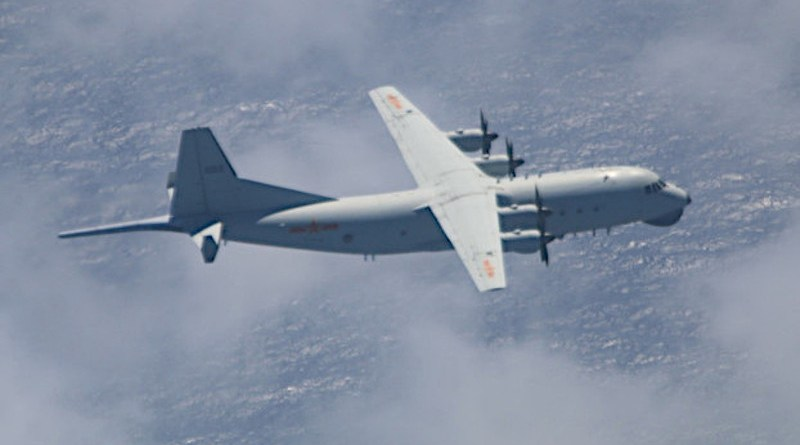 This Y-8 antisubmarine warfare plane belonging to the People's Liberation Army Air Force was spotted flying near Pratas island on Oct. 11, 2020. (Ministry of National Defense, Republic of China)
