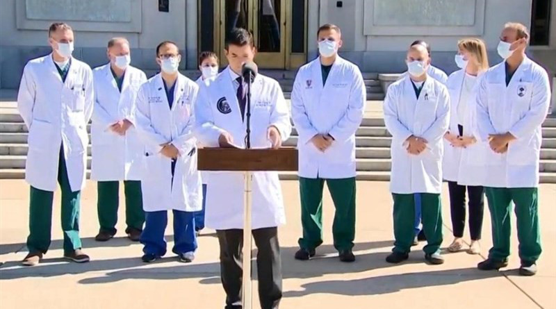 Doctors treating US President Donald Trump at Walter Reed National Military Medical Center in Bethesda, Md. speak to the media. Photo Credit: Tasnim News Agency