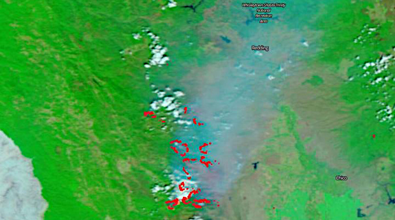 The false-color image is collected by the VIIRS (Visible Infrared Imaging Radiometer Suite) instrument suite using corrected reflectance bands. Burned areas or fire-affected areas are characterized by deposits of charcoal and ash, removal of vegetation and/or the alteration of vegetation structure. When bare soil becomes exposed, the brightness in Band 1 may increase, but that may be offset by the presence of black carbon residue; the near infrared (Band 2) will become darker, and Band 7 becomes more reflective. When assigned to red/brown in the image, Band 7 will show burn scars as deep or bright reddish brown depending on the type of vegetation burned, the amount of residue, or the completeness of the burn. It is hard to see clearly due to the massive amounts of smoke covering the landscape. CREDIT: NASA Worldview, Earth Observing System Data and Information System (EOSDIS).
