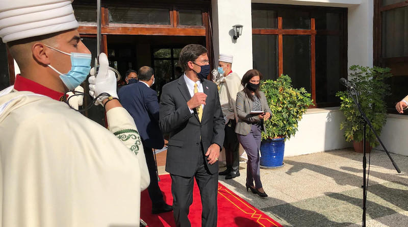Defense Secretary Dr. Mark T. Esper walks out to brief the press after meeting with Algerian President Abdelmadjid Tebboune today in Algiers, Algeria. The two leaders discussed the security situation in North Africa and ways to cooperate in the security sphere. Photo Credit: Jim Garamon, DOD