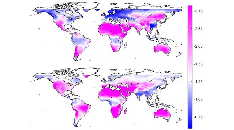 Hot, arid regions may see greater fluctuations in sunlight as the climate changes, the researchers reported. They used satellite data and climate model outputs to evaluate the intermittency of solar radiation and the reliability of photovoltaic energy under future climate conditions. They found that arid areas (pink) were more likely to experience a decrease in average solar radiation -- and thus the reliability of solar power -- in January (top) and July (bottom). CREDIT: Image courtesy of Jun Yin, Nanjing University of Information Science and Technology