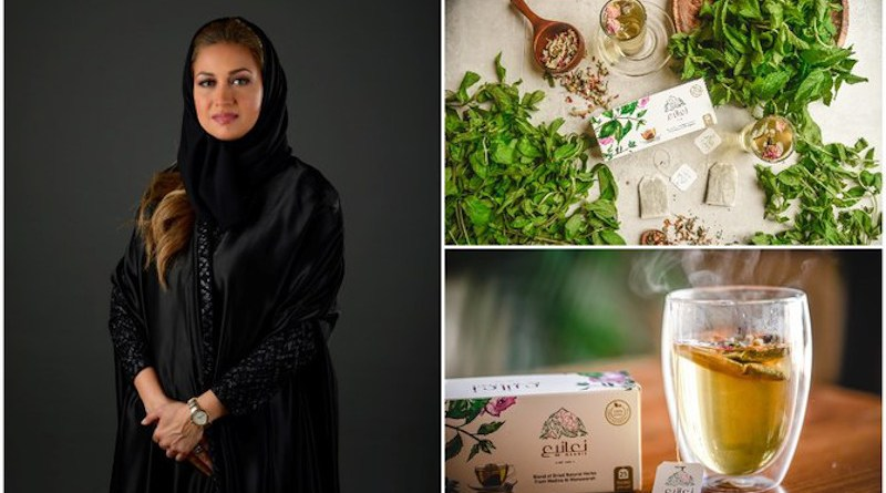Lamees Madani (L), who created Naanie Tea in Jeddah in 2019, combining a blend of herbs that only grow in Madinah. (Supplied)