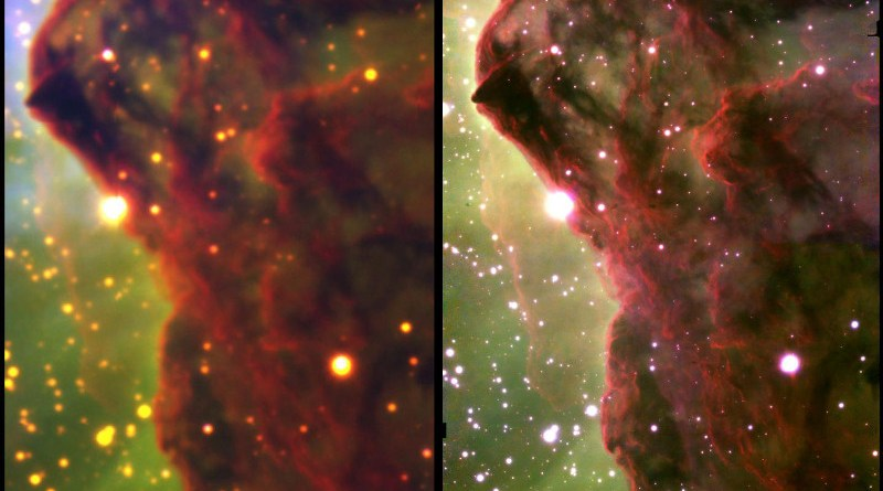 Two near-infrared composite images showing a 33 trillion-mile section of the Western Wall, a cloud of gas and dust in a star-forming region of the Carina Nebula. Each image was taken by Rice University astronomer Patrick Hartigan and colleagues from telescopes at the National Science Foundation's NOIRLab observatory in Chile and shows hydrogen molecules at the cloud's surface (red) and hydrogen atoms evaporating from the surface (green). The left-hand image was taken with the four-meter Blanco telescope's Wide-Field Infrared Imager in 2015. The right-hand image was taken with the 8.1-meter Gemini South telescope's wide-field adaptive optics imager in January 2018 and has about 10 times finer resolution thanks to a mirror that changes shape to correct for atmospheric distortion. CREDIT: Images courtesy of Patrick Hartigan/Rice University