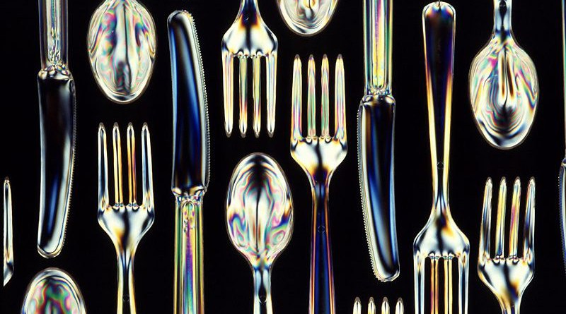 Biodegradable plastic utensils. Photo Credit: Scott Bauer, Agricultural Research Service, the research agency of the United States Department of Agriculture. Wikipedia Commons