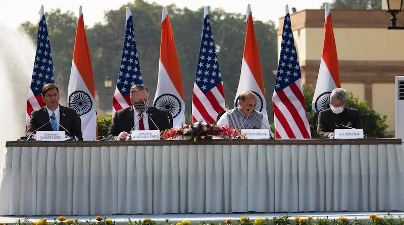 Defense Secretary Dr. Mark T. Esper, Secretary of State Michael R. Pompeo, Indian Defense Minister Rajnath Singh, and Indian External Affairs Minister Dr. S. Jaishankar participate in a press event after the U.S.-India 2+2 Ministerial Dialogue in New Delhi, Oct. 27, 2020. Photo Credit: Lisa Ferdinando, DOD