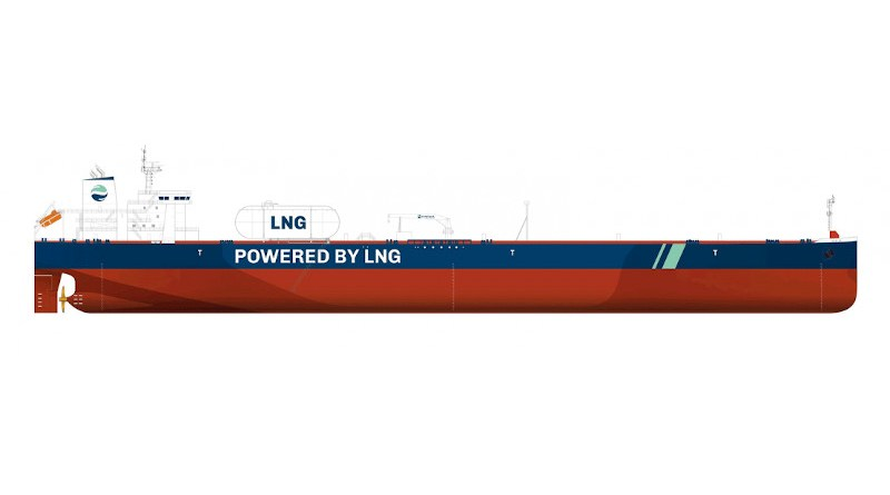 Illustration of an LNG-powered vessel. Credit: Total