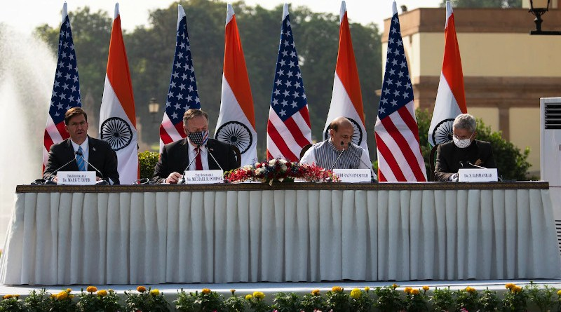 Defense Secretary Dr. Mark T. Esper, Secretary of State Mike Pompeo, Indian Defense Minister Rajnath Singh, and Indian External Affairs Minister Dr. S. Jaishankar (left to right) participate in a press event after the U.S.-India Two-plus-Two Ministerial in New Delhi, India, Oct. 27, 2020. Photo Credit: Lisa Ferdinando, DOD