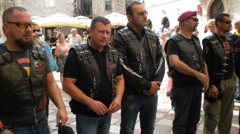 Cossacks and bikers in leather jackets gather in front of St. Nicholas Church in Kotor, Montenegro. Photo Credit: Jasna Vukicevik, RFE/RL