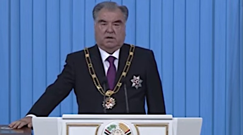 Tajikistan's Emomali Rahmon takes the oath of office on October 30. Photo Credit: Screenshot