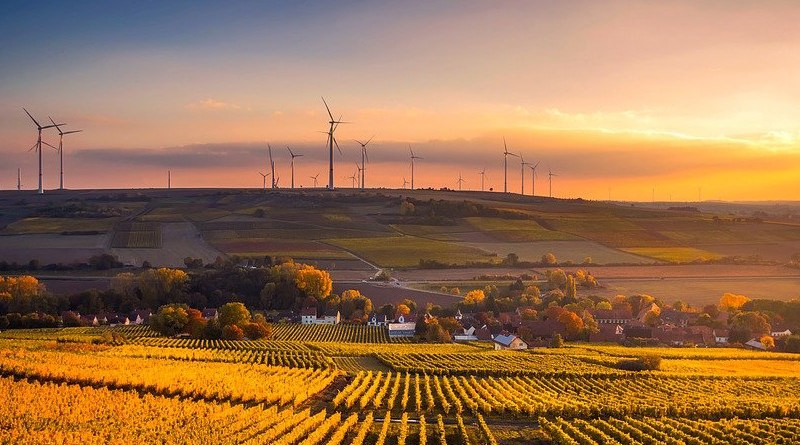 Germany Sunset Dusk Sky Clouds Beautiful Wind Power Turbine Energy