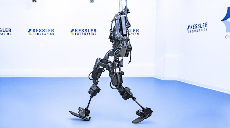 For this study, two types of exoskeletons were used by participants with spinal cord injury - Ekso GT, shown here, and Rewalk. CREDIT: Kessler Foundation