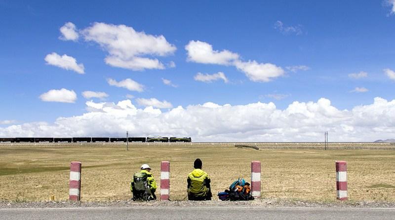Train passes on railway in Tibet