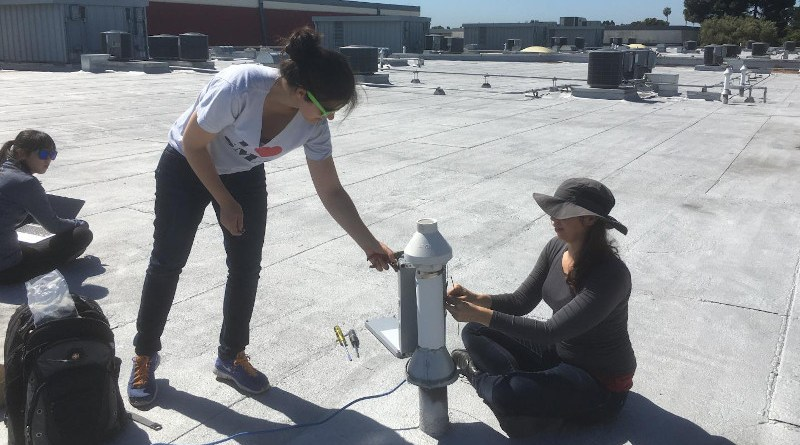 (L to R) Jinsol Kim, Alexis Shusterman and Catherine Newman, all of whom now have earned a Ph.D from UC Berkeley, installing pollution sensors atop a middle school in Richmond, California. CREDIT: Photo by Kaitlyn Lieschke