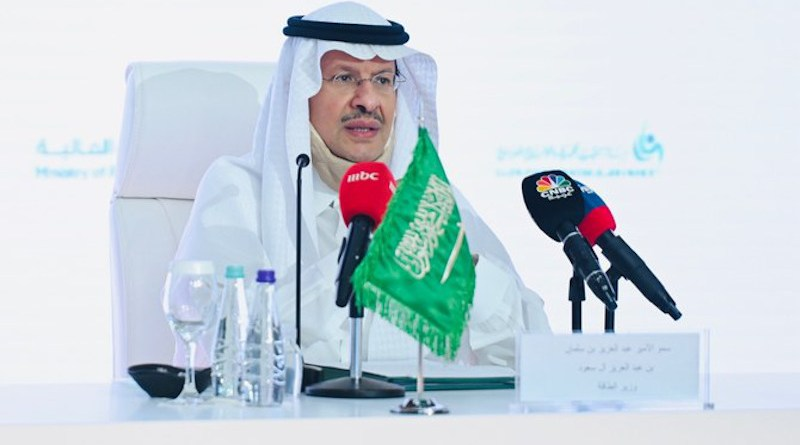Saudi Arabia's Oil Minister Prince Abdulaziz bin Salman addressing a meeting of OPEC+ countries. (Saudi energy ministry)