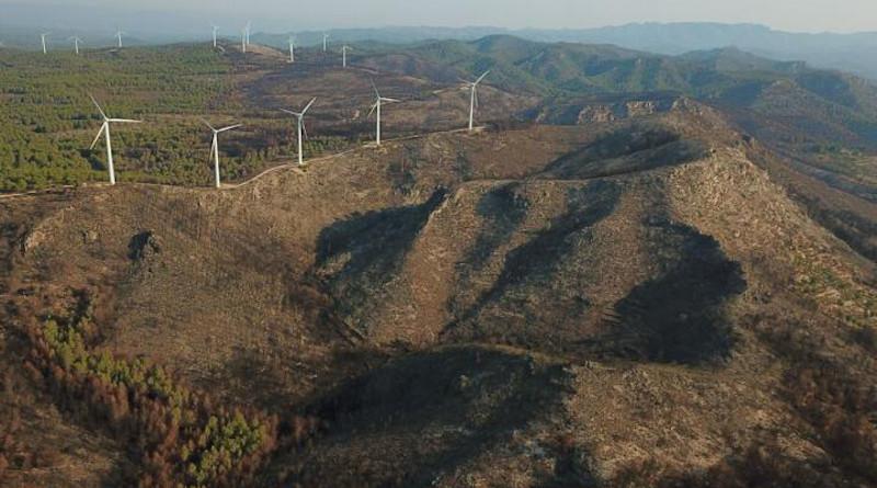 Wildfire near a windfarm northeast Spain. CREDIT Image: Lluis Brotons