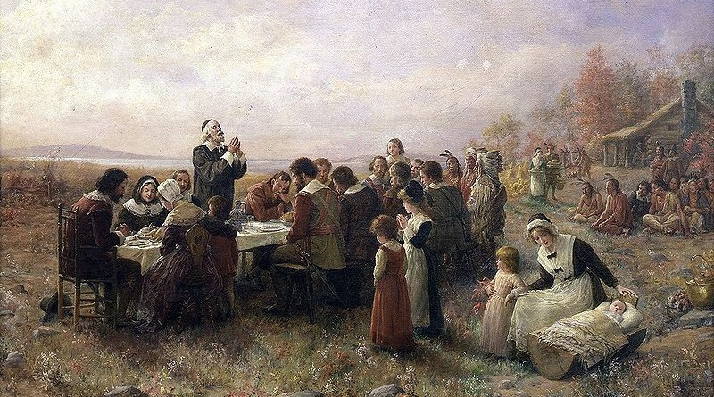 """The First Thanksgiving at Plymouth"". (1914) By Jennie A. Brownscombe"