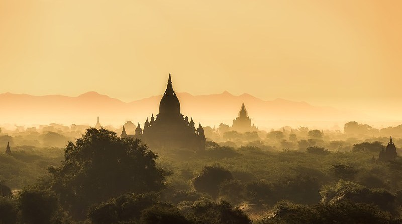 Myanmar Burma Landscape Sunrise Morning Haze Mist