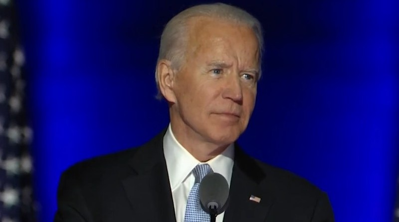 Former U.S. Vice President and President-elect Joe Biden addresses the nation. Photo Credit: Screenshot