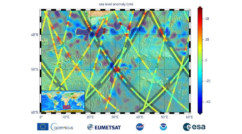 The data in this graphic are the first sea surface height measurements from the Sentinel-6 Michael Freilich (S6MF) satellite, which launched Nov. 21, 2020. They show the ocean off the southern tip of Africa, with red colors indicating higher sea level relative to blue areas, which are lower. Credits: EUMETSAT