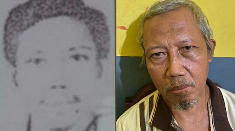 Aris Sumarsono (alias Zulkarnaen) is seen in a file photo (left), and following his arrest Thursday night on Indonesia's Sumatra island, Dec. 12, 2020.Courtesy Indonesia National Police