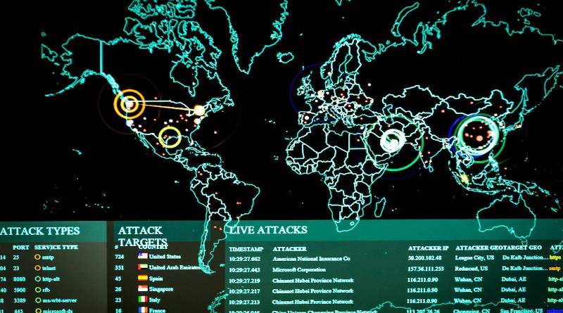 Real-time cyber attacks -- including information on the attack's origin, type and target and the attacker's IP address, geographic location and ports being used -- are displayed on an attack map on the 275th Cyberspace Squadron's operations floor, June 3, 2017. The squadron is part of the Maryland Air National Guard's 175th Cyberspace Operations Group. Photo Credit: Joseph M. Eddins Jr., Air Force