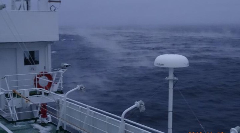 Researchers aboard the research vessel Mirai watched water vapor rise from the Chukchi Sea, resembling the mist that rises from a hot bath in a cold room. The Pacific Ocean brings relatively warm 2-degree Celsius water into the Arctic Ocean, where much colder minus 10-degree Celsius winds blow across the surface. New analysis by researchers in Japan shows how changes in the atmosphere that raise Pacific sea surface temperatures during the summer can delay the formation of Arctic sea ice months later. CREDIT: Photo by Jun Inoue, National Institute of Polar Research, CC BY-SA.