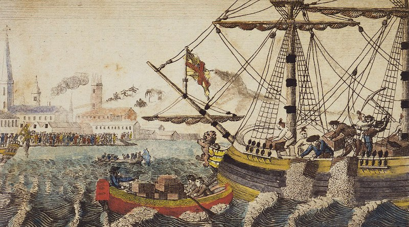 "Boston Tea Party. W.D. Cooper. ""Boston Tea Party."", The History of North America. London: E. Newberry, 1789.Engraving."