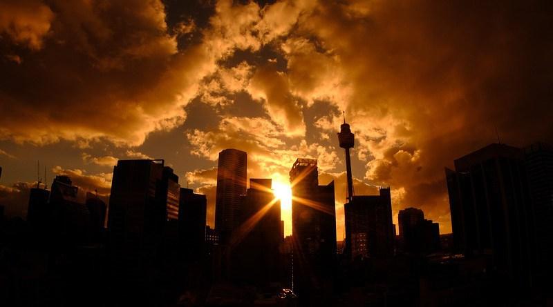 Australia Sydney Skyline Tower Sunset Evening Sun