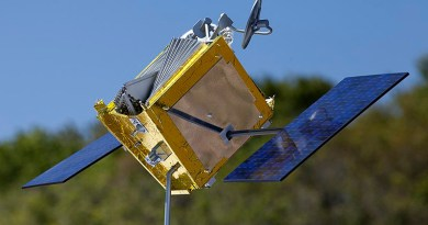 Model of a OneWeb satellite. Photo Credit: NASA/Kim Shiflett