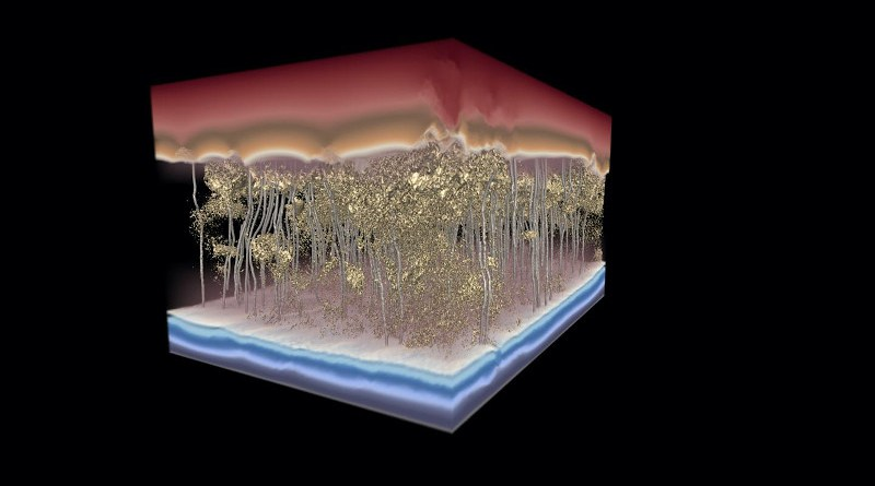 This 3D model of a polymer desalination membrane shows water flow -- the silver channels, moving from top to bottom -- avoiding dense spots in the membrane and slowing flow. CREDIT: Image by the Ganapathysubramanian research group/Iowa State University and Gregory Foss/Texas Advanced Computing Center.
