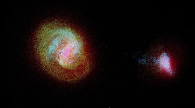 A diagram of the two most important companion galaxies to the Milky Way, the Large Magellanic Cloud or LMC (left) and the Small Magellanic Cloud (SMC) made using data from the European Space Agency Gaia satellite. The two galaxies are connected by a 75,000 light-years long bridge of stars, some of which is seen extending from the left of the SMC. CREDIT: ESA/Gaia/DPAC