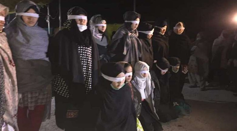 Blindfolded female protesters at the sit-in by the Hazara community in Quetta, Pakistan. (Photo supplied)