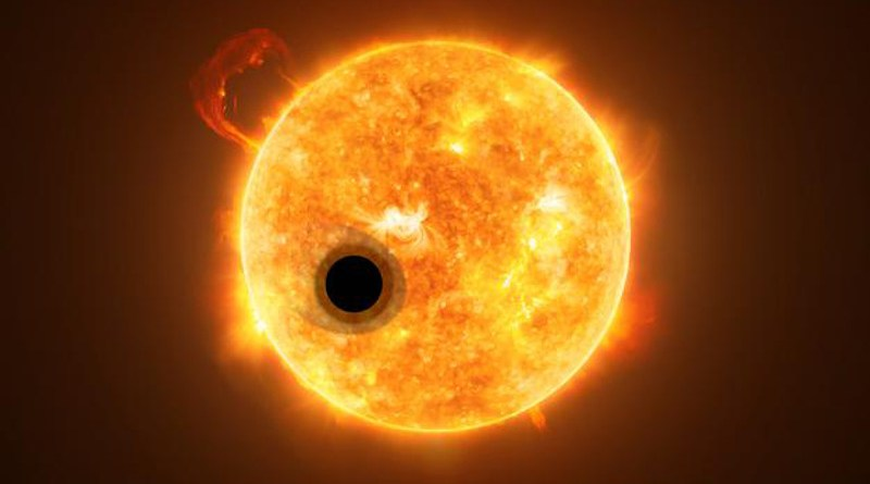 Artistic rendition of the exoplanet WASP-107b and its star, WASP-107. Some of the star's light streams through the exoplanet's extended gas layer. CREDIT ESA/Hubble, NASA, M. Kornmesser.