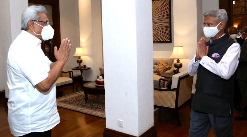 Sri Lanka's President Gotabaya Rajapaksa with India's Foreign Minister S Jaishankar. Photo Credit: Facebook/Gotabaya Rajapaksa