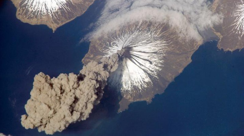 Cleveland Volcano, Aleutian Islands eruption in 2006. Volcanism is one of the main carbon dioxide sources in the long-term carbon cycle balanced by weathering sinks, which, among others, represent important processes included in Komar and Zeebe's model. CREDIT NASA image courtesy Jeff Williams