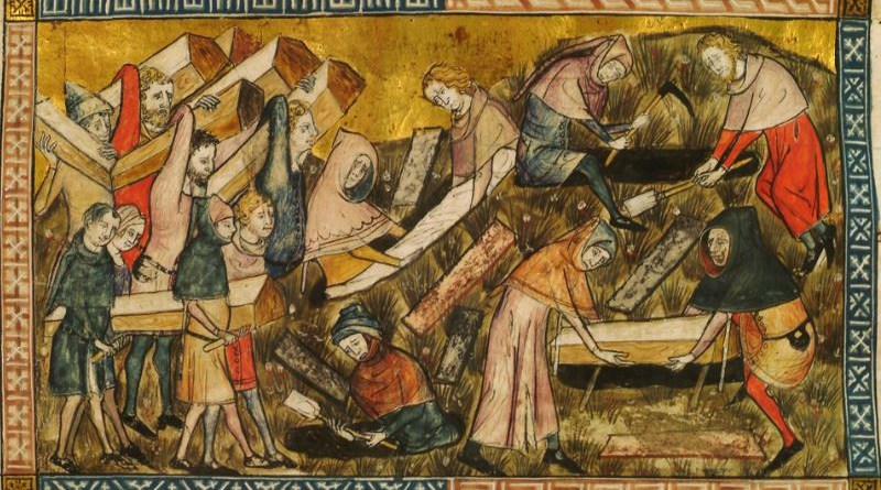 Citizens of Tournai bury plague victims. Credit: Pierart dou Tielt (fl. 1340-1360), Wikipedia Commons
