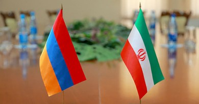 Flags of Armenia and Iran. Photo Credit: Mehr News Agency
