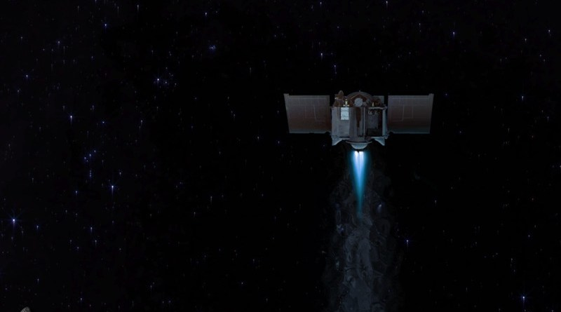 This illustration shows the OSIRIS-REx spacecraft departing asteroid Bennu to begin its two-year journey back to Earth. Credits: NASA/Goddard/University of Arizona