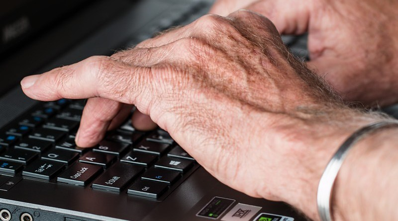 elderly Hands Old Typing Laptop Internet Working Writer