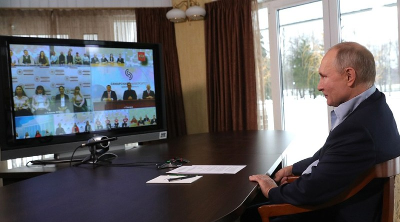 Russia's President Vladimir Putin with college students on Jan 25. Photo Credit: Kremlin.ru