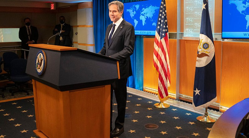 Secretary of State Antony J. Blinken delivers remarks to the media at the U.S. Department of State in Washington, D.C. on January 27, 2021. [State Department Photo by Freddie Everett/ Public Domain]