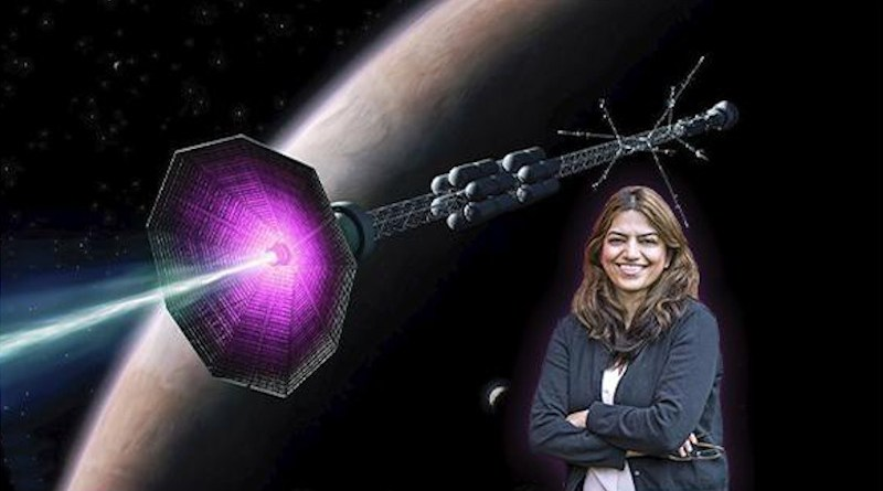 PPPL physicist Fatima Ebrahimi in front of an artist's conception of a fusion rocket CREDIT Elle Starkman (PPPL Office of Communications) and ITER