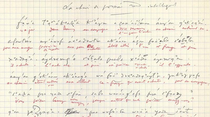 Georges Dumézil's handwritten transcription of an Ubykh story, as told by Tevfik Esenç. © Georges Dumézil